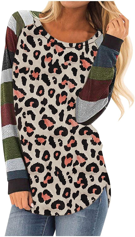 cheap POTO Long Sleeve Shirts for Leopard T online shop Womens Round Women