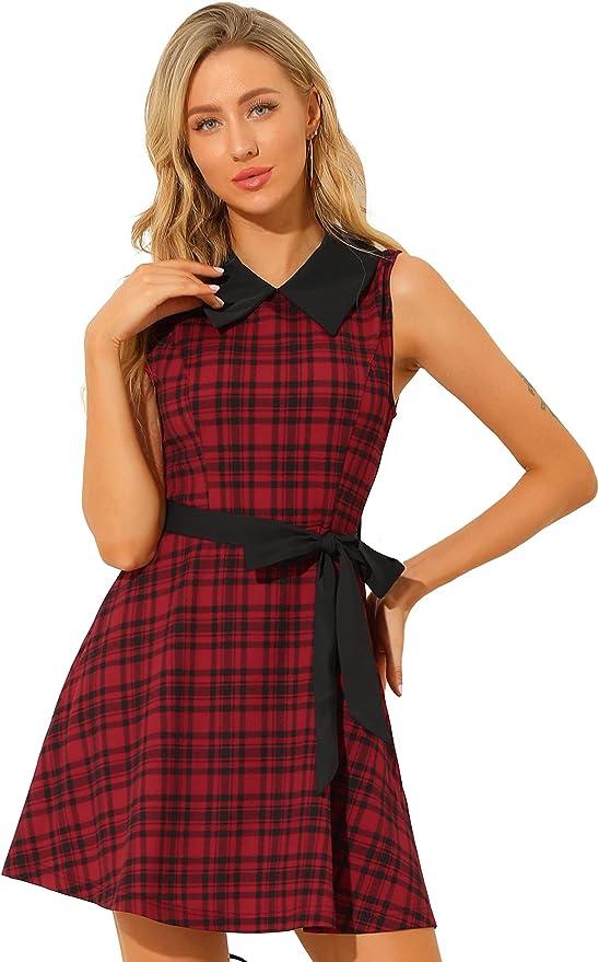 Vintage Style Dresses | Vintage Inspired Dresses Allegra K Womens A-line Belted Vintage Sleeveless Plaid Dress  AT vintagedancer.com