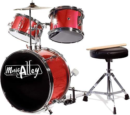 Musique Alley 3 Piece Junior Kit de Batterie pour les Enfants avec des Selles Tambour de Pédale de Cymbale et Bâtons ...