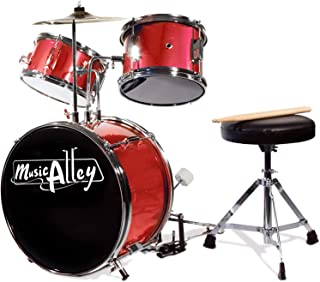 Music Alley DBJK02-MR Three Piece Junior Drum Kit for Kids with Cymbal Pedal Drum Stool and Drum Sticks Metallic Red