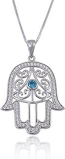 925 Sterling Silver Filigree Blue CZ Hamsa Hand of Fatima Pendant Necklace, 18 inches