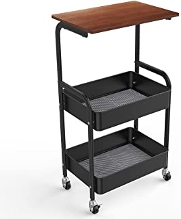 HAROK サイドテーブル ナイトテーブル キャスター付き ベッド横 移動式 3段 木天板タイプ 収納 小物 省スペース おしゃれ 幅43×奥行30×高さ76cm