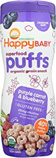 Happy Baby Organic Superpuff Purple Carrot and Blueberry Puffs, 60g