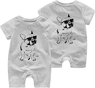 Ives Jean Baby ärmellose Bodys Französische Bulldogge Baby Mädchen Kurzarm Bodysuit Strampler Jumpsuit 0-24 Monate