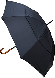 COLLAR AND CUFFS LONDON - Windproof EXTRA STRONG - StormDefender City Umbrella - Vented Canopy - Auto - Solid Wood Hook Handle - Black