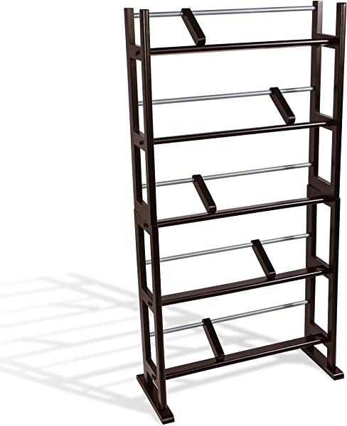 Atlantic Element Media Storage Rack Holds Up To 230 CDs Or 150 DVDs Contemporary Wood Metal Design With Wide Feet For Greater Stability PN35535601 In Espresso