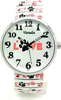 Ladies Mens Novelty Animal Dog Paw Elegant Stretch Elastic Band Fashion Watch Versales Varsales