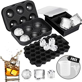 Ice Cube Tray, AiBast Ice Trays for Freezer With Lid, 3 Pack Silicone Large Round Ice Cube Tray, Sphere Square Honeycomb I...