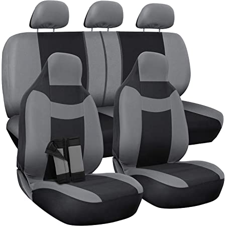 Truck Gray /& Black 50//50 or 60//40 Rear Split Bench FREE Steering Wheel Cover 5 Head Rests Front Low Back Buckets or Van Suv OxGord 17pc Set Flat Cloth Mesh // Auto Seat Covers Set Universal Fit for Car Airbag Compatible