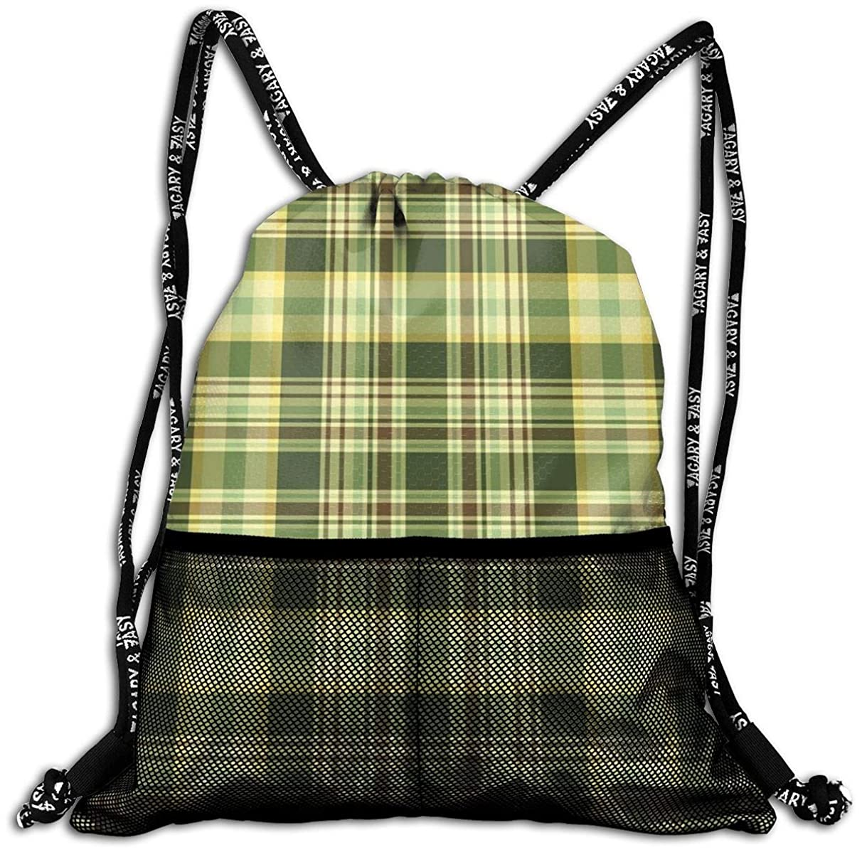 Drawstring Backpacks Bags,Quilt Pattern Traditional Scottish Design Checkered Geometrical,5 Liter Capacity,Adjustable