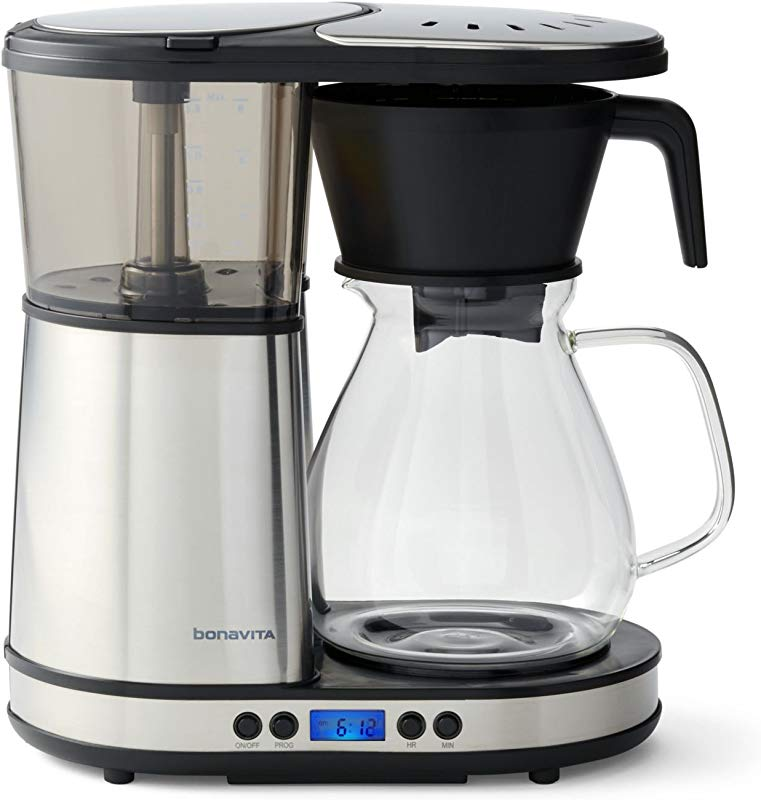 Bonavita BV1902DW 8 Cup One Touch Coffee Maker Featuring Programmable Setting And Glass Carafe With Warming Plate Silver