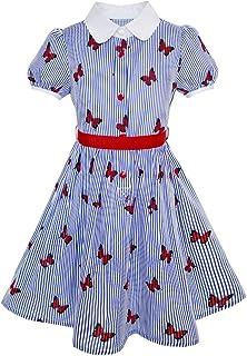 Sunny Fashion Girls Dress School Uniform Blue Strip Butterfly Print Gingham Size 4-10 Years