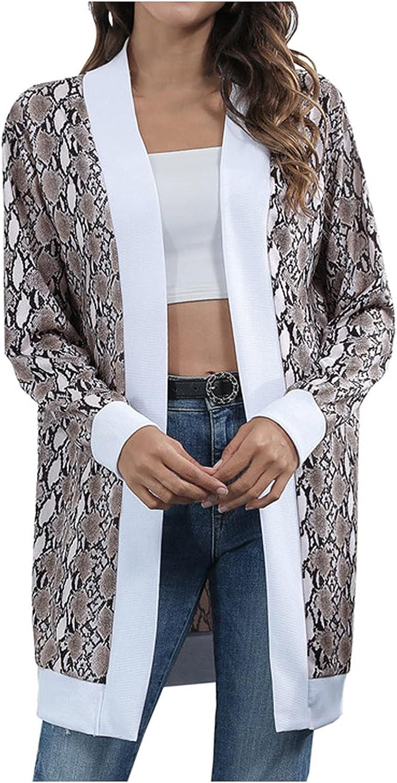 Fall Cardigans for Women Long Sleeve Print Open Stitch Coat Cardigans Long Outwear Tops
