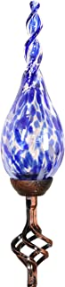 Exhart Solar Garden Stake Lights – Solar Glass Blue Twisted Flame Garden Stakes – Handblown Glass Finial Lights, LED Accent Lights That Transform a Garden Driveway or Event (9in Glass 36in Stake)