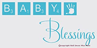 Wall Decor Plus More WDPM2863 Baby Blessings with Scrabble Tiles Nursery Wall Decal Vinyl Sticker, 36 x 15-Inch, Geyser Blue
