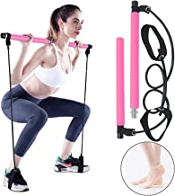 Portable Pilates Bar Kit, Yoga Pilates Stick with Resistance Band, Home Gym Pilates Yoga Exercise Bar with Foot Loop for T...