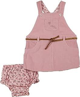 Pink Corduroy Belted Jumper & Pink Floral Diaper Cover - Infant & Toddler