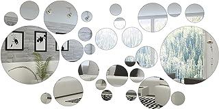 Shappy 32 Pièces Miroir Cercle Rond Autocollants Miroirs Ronds Décoration de la Maison