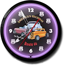 """product image for Route 66 America's Highway Get Your Kicks Neon Wall Clock 20"""" Made In USA, 110V Electric, Aluminum Spun Case, Powder Coated Finish, Glass Face, Brass Movement, Pull Chain, 1 Year Warranty"""