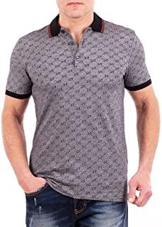 Polo Shirt, Mens Gray Short Sleeve Polo T- Shirt GG Print