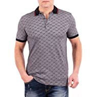 Polo Shirt, Mens Gray Short Sleeve Polo T- Shirt GG Print
