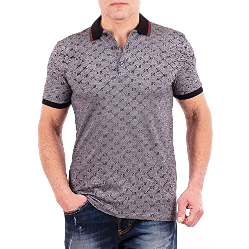 Gucci Polo Shirt, Mens Gray Short Sleeve Polo T- Shirt GG Print
