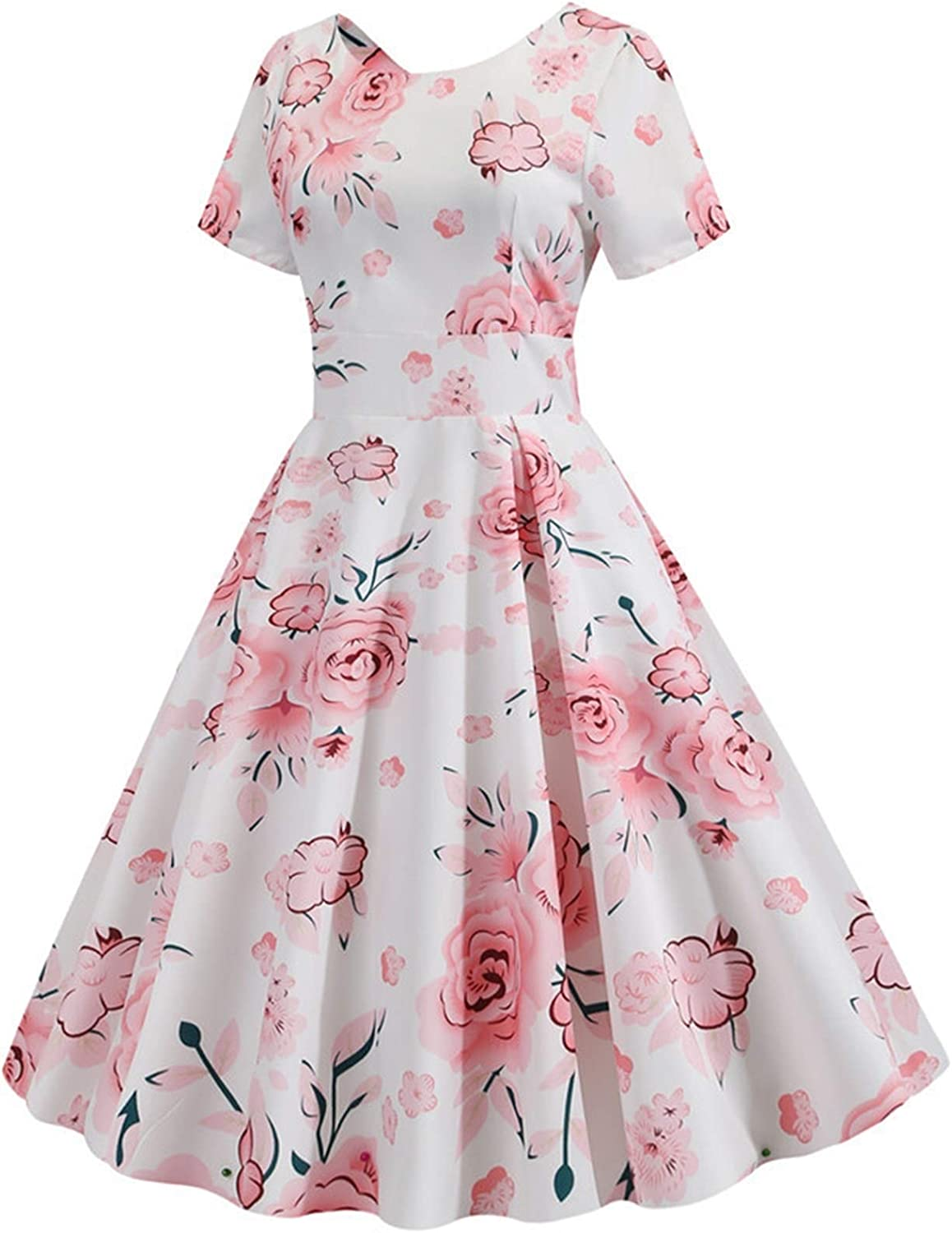 BangHaa Summer Floral Print Elegant A-line Party Dress Women Slim White Short Sleeve Swing Pin Up Vintage Dresses Plus Size Robe Femme for Beach Vacation (Color : Pettiskirt red, Size : Large)