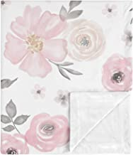 Sweet Jojo Designs Shabby Chic Rose Flower Watercolor Floral Baby Girl Receiving Security Swaddle Blanket for Newborn or T...