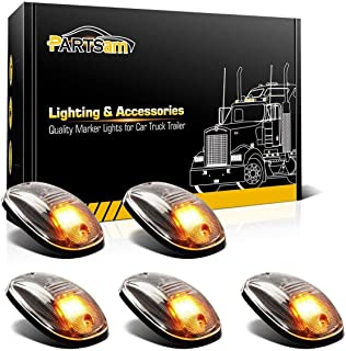 Partsam LED Cab Marker Roof Running Lights 5PCS Clear Lens 9LED Amber Top Lights Compatible with Dodge Ram 1500 2500 3500 4500 5500 2003-2018 SUV Truck Pickup RV