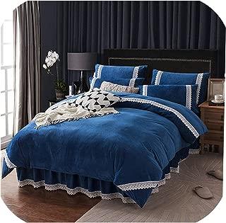Winter Flannel Fleece Bedding Set Cashmere Sheet Pillowcase Duvet Cover Set Camel Fleece Lace Thicken Warm Ruffles Bed Linen Set,Darkblue Lace,Full,Bed Skirt Sheet Set