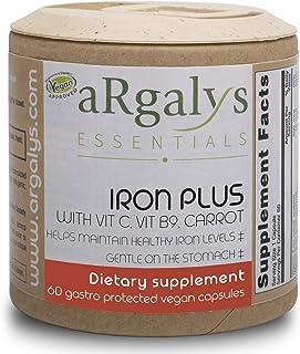 aRgalys Essentials Iron Plus, Vegan, Non-GMO, Gluten Free, Fortified Iron Supplement with Vitamin C, Vitamin B9, and Carro...