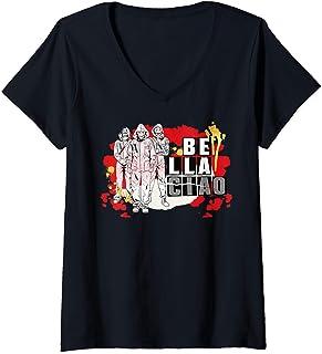 Femme Netflix La Casa De Papel Bella Ciao Paint Splatter T-Shirt avec Col en V