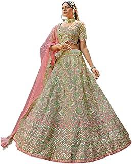 فستان نسائي هندي أخضر اللون مخصص لحفلات الزفاف جورجيت Lehenga Choli Mesh Dupatta Hit Design Bollywood Fashion Dress 6083