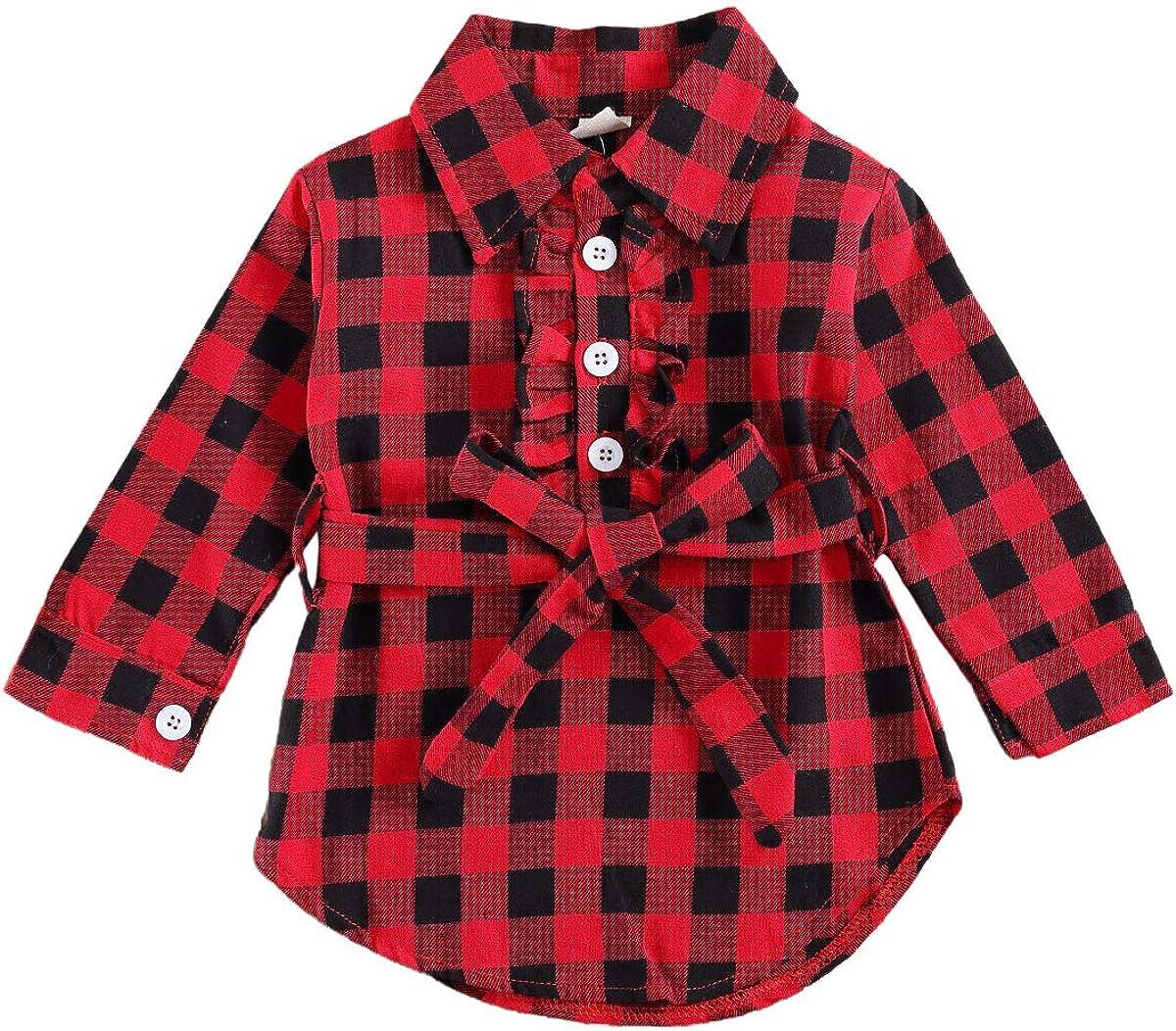Kid High order Baby Girls Shirt Dress Dre OFFicial Blouse Button-Down Ruffled Plaids