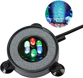 NICREW Multi-Colored LED Aquarium Air Stone Disk, Round Fish Tank Bubbler with Auto Color Changing LEDs
