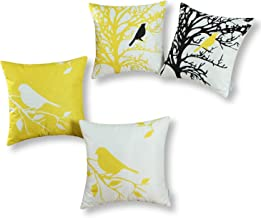 CaliTime Set of 4 Soft Canvas Throw Pillow Covers Cases for Couch Sofa Home Decoration Shadow Bird Tree Branches Silhouette 18 X 18 Inches Bright Yellow