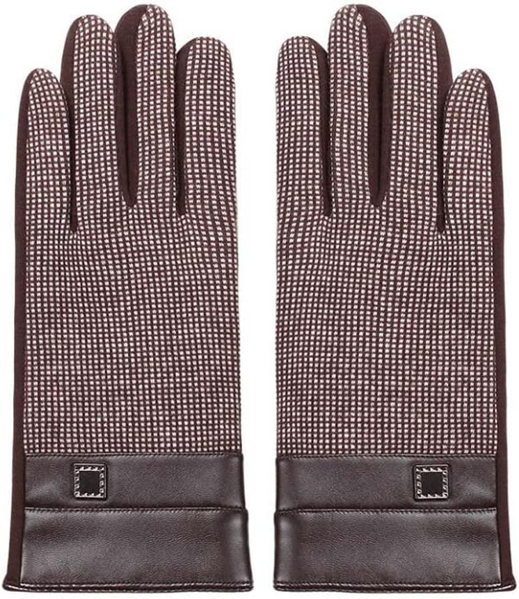 DRAGON SONIC Brown Winter Warm Mittens Plush-Lined Gloves Men's Touchscreen Gloves