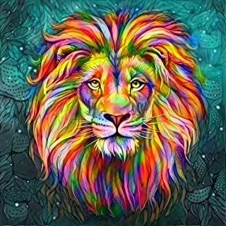 5D Diamond Painting Kits, Colorful Lion Full Round Drill Crystal Embroidery Arts Craft Canvas for Kids Adults, Home Wall D...