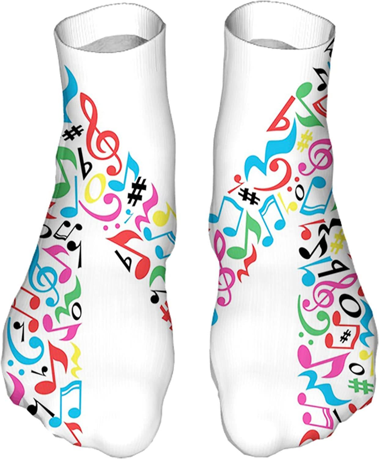 Men's and Women's Fun Socks Printed Cool Novelty Funny Socks,Major and Minor Notes and Other Musical Elements