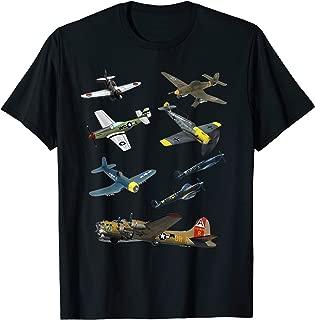 WW2 Warbirds P51 Mustang Spitfire Messerschmitt B-17 Gift T-Shirt
