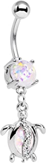Stainless Steel Iridescent Accent Beach Turtle Dangle Belly Ring