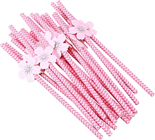 20 Pcs Creative Disposable Paper Straws Biodegradable Drinking Straws Gorgeous Cherry Blossom Decorated Paper Pipettes for Birthday Wedding Party