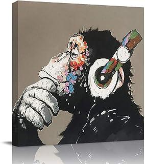بارد آب يستمع الموسيقى مع سماعة رأس مربع جدار الفن على القماش، صور الرسم الحديث الأعمال الفنية لغرفة المعيشة غرفة النوم مك...