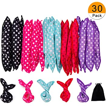 30 Pieces Hair Curler Rollers DIY Night Sleep Foam Hair Styling Tools Flexible Soft Sponge Pillow Hair Rollers With Storage Bag (5 Colors)