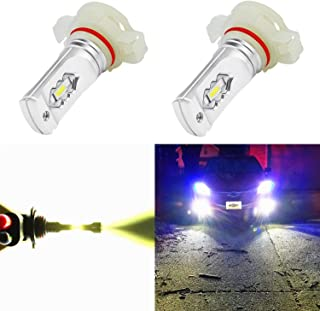 Alla Lighting 5202 LED Fog Light Bulbs 3800lm Xtreme Super Bright 5201 5202 LED Bulbs Fog Light ETI 56-SMD LED 5202 Bulb 5201 PS19W 12085 5202 LED Fog Lights Lamp Replacement - 6000K Xenon White