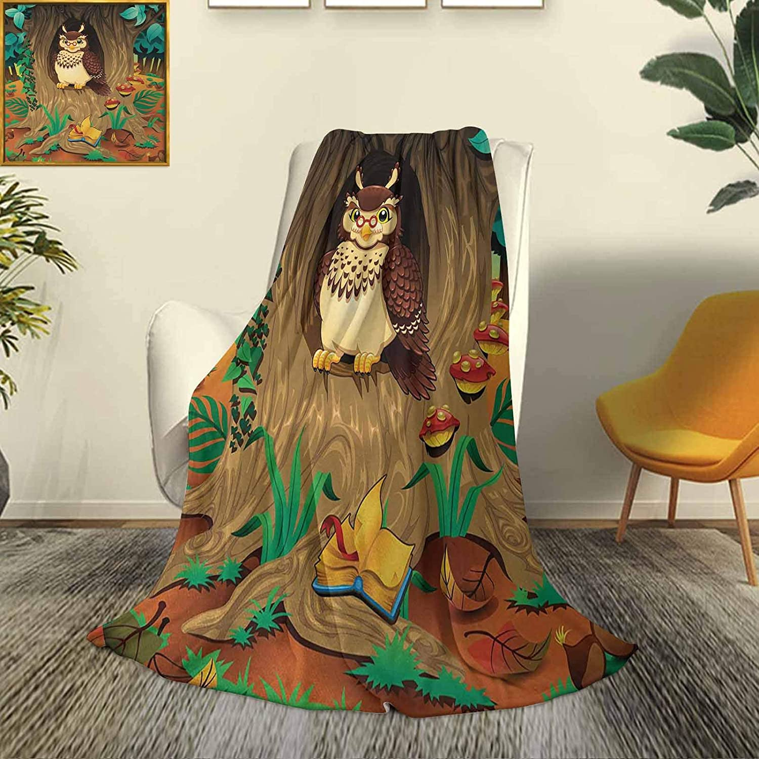 Owl Car camping blanket Discount mail order Max 52% OFF shawl Wise Old Nanny Grandma