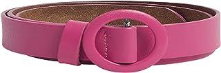 Solid Round Buckle Slim Belt For Women