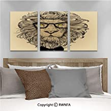 3pcs/Set Oil Painting Wall Art Lion Character Portrait with Glasses and Bowtie Hipster Smart Cool Dandy Cubism Printed on Canvas Picture Modern Art for Home Decoration 13.8x19.7inch,Sand Brown Black