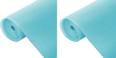 Kuber Industries 2 Pieces Multipurpose Diamond Textured Super Strong Anti-Slip Mat Liner,Size 45X150 cm (1.50 Meter Roll, Light Blue) - CTKTC045491