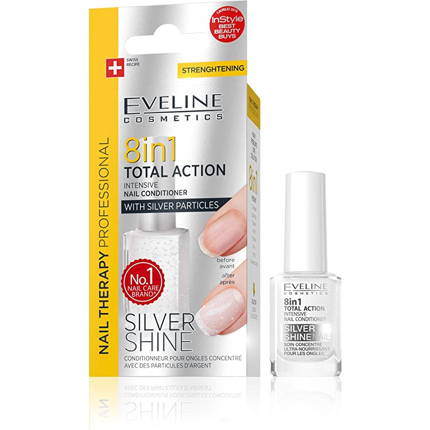 ケープ王室関係するEveline Cosmetics 8 in 1 Total Action Silver Shine - Intensive Nail Conditioner with Silver Particles [並行輸入品]